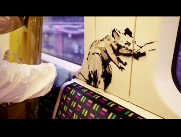 New virus-themed Banksy appears on the London underground...